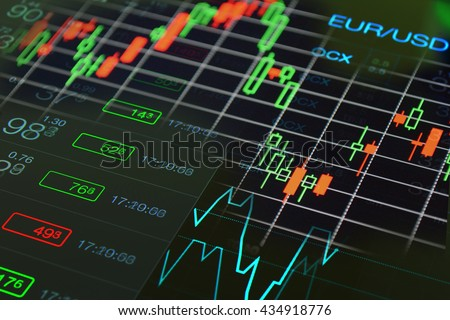 Financial, investment, business black background. Forex trading floor. Trading chart, fiinancial market collage: financial business abstract chart and numbers at black background. Euro Dollar currency