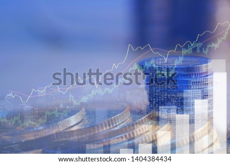 Financial investment concept, Double exposure of city night and stack of coins for finance investor, Forex trading candlestick chart economic, ECN Digital economy,the best,technology,Industry,business