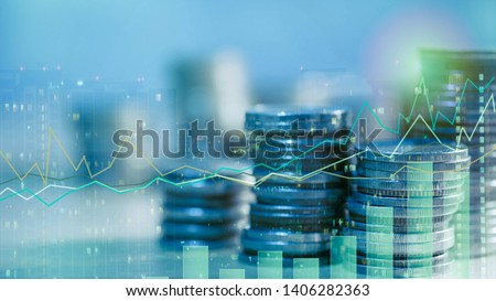 Financial investment concept, Double exposure of city night and stack of coins for finance investor, Forex trading candlestick chart, ECN Digital economy #1406282363