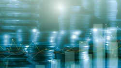Financial investment concept, Double exposure of stack of coins and city for finance investor, Forex trading market candlestick chart, Cryptocurrency Digital economy. investing growing.economy trends