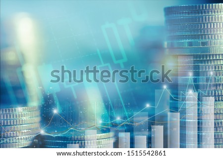 Financial investment concept, Double exposure of stack of coins and city for finance investor, Forex trading market candlestick chart, Cryptocurrency Digital economy. investing growing.