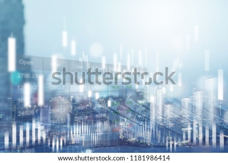Financial investment concept. Stock market or forex trading graph and stock exchange, summary chart, economy trends background. Abstract finance background for business presentation. blue tone