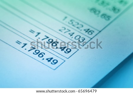 Financial Invoice, close up with focus on numbers