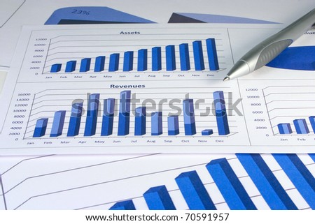 Financial management graphs in a corporate blue color