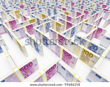 Financial Maze Labyrinth made of EURO banknotes. High resolution 3D rendering.