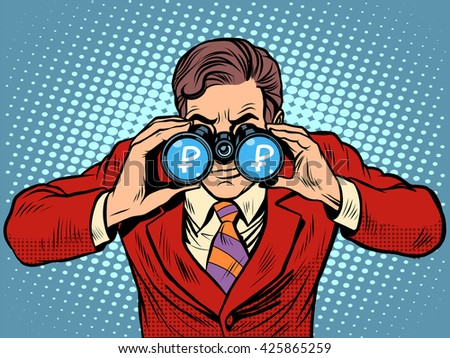 Financial monitoring of currency ruble businessman binoculars