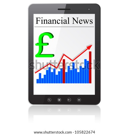 Financial News sterling on Tablet PC. Isolated on white.   illustration