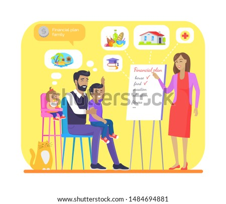 Financial plan for young family colorful banner, raster illustration of cheerful parents and their children on meeting, voting for resource allocation