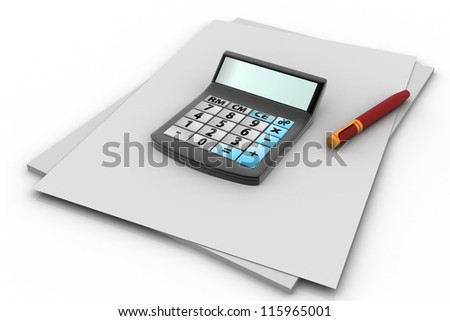 Financial planning with calculator and pen