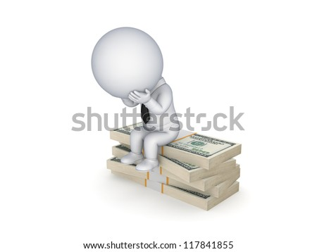 Financial problems concept.Isolated on white background.3d rendered.