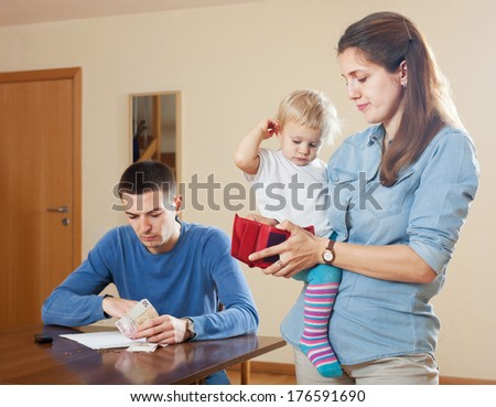 Financial problems in the family with baby at home