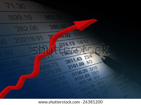 Financial recovery concept with red arrow over financial figures