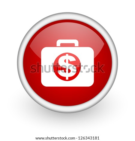 financial red circle web icon on white background