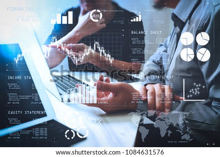 Financial report data of business operations (balance sheet and income statement and diagram) as Fintech concept.Business team meeting. Photo professional investor working new start up project.  #1084631576