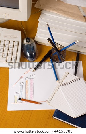 Financial report with graph and computer