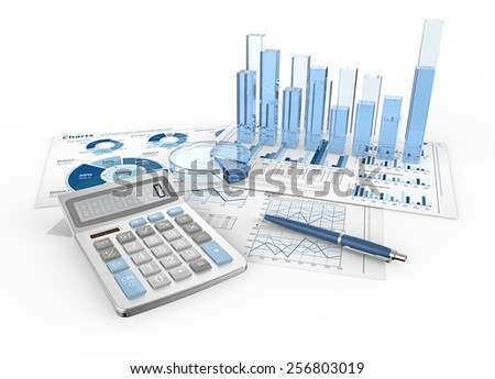 Financial Reports. Abstract infographics documents and 3D graphs and charts.