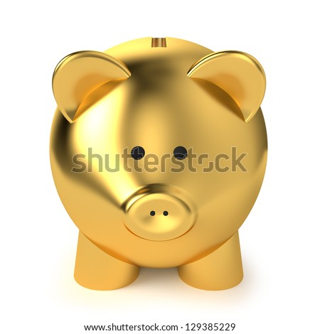 Financial, savings and business concept with a golden piggy bank or money box on white background.