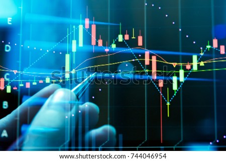 FINANCIAL SERVICE concept with Data analyzing in Forex, Commodities, Equities, Fixed Income and Emerging Markets. the charts and summary info show about