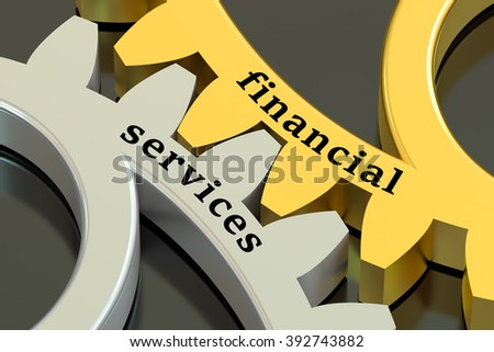 Financial Services concept on the metallic gearwheels