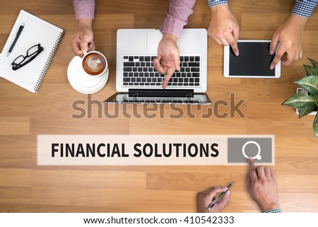 FINANCIAL SOLUTIONS man touch bar search and Two Businessman working at office desk and using a digital touch screen tablet and use computer objects on the right, top view