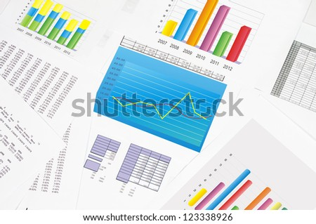 Financial statements and line chart.