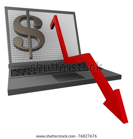 Financial Statistics dollar, the schedule has fallen to the bottom of the laptop on a white background