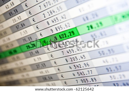 financial stats on computer screen