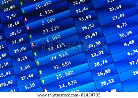 financial stats on computer screen. Spotlight effect, dramatic light - stock photo