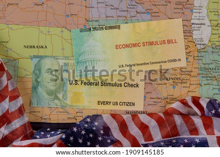 Financial stimulus bill Global pandemic Covid 19 USA lockdown on American flag on U.S. map background Photo stock ©