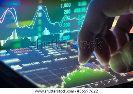 Financial stock market data. Candle stick graph chart of stock market \ ,stock market data graph chart on LED concept, work for stock market background\ ,stock market education and stock market analysis