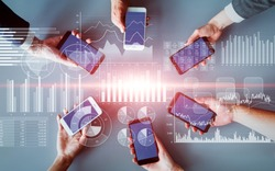 Financial technology and mobile communication concept. Fintech.