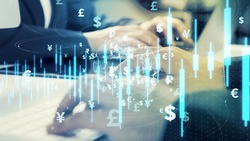 Financial technology concept. Fintech. Cashless payment. Foreign exchange. FOREX.