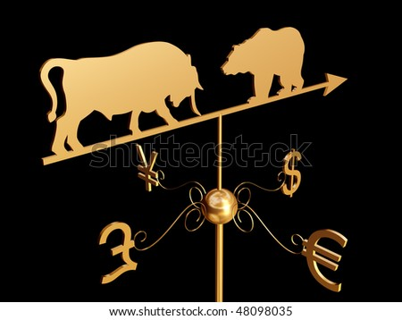 Financial weather vane with a bull, bear and dollar, euro, pound sterling and yen symbols