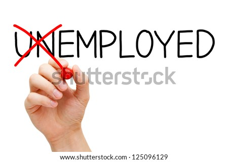 Find a new job. Hand turning the word Unemployed into Employed with red marker isolated on white.