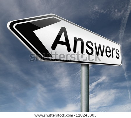 find answers road sign indicating way to solve problems answer button answer icon search answer and discover truth