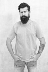 Find best beard design shape for facial hair. Bearded hipster brutal guy. Having nice beard is distinguishable style that exuberant professionalism and manhood. Taking care of facial hair. Hair care.