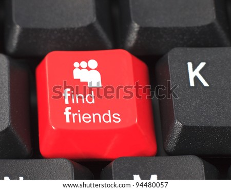 Find friends word on red and black keyboard button