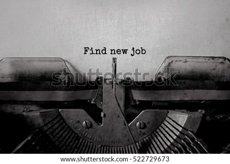 find new job typed words on a...