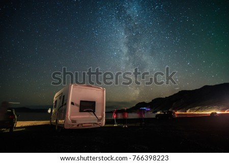 Find the milky way by Recreational vehicle car (RV car)