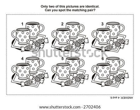Find two identical images ( match the pair ) puzzle and coloring page 11785 ( for vector EPS see image 14696776 )