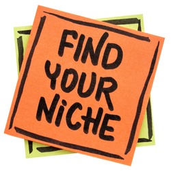 Find your niche advice or reminder  - handwriting in black ink on an isolated sticky note