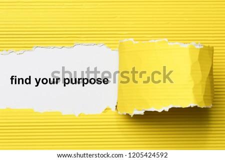 find your purpose text on paper. Word find your purpose on torn paper. Concept Image. Stockfoto ©