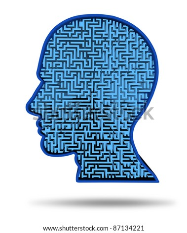 Finding a cure for a brain disease symbol with a maze and labyrinth in the shape of a human head for research into the complexity of thinking as a challenging problem to solve by medical doctors.