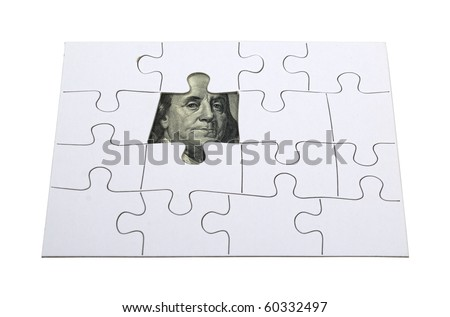 Finding money shown by a missing puzzle piece revealing money - path included