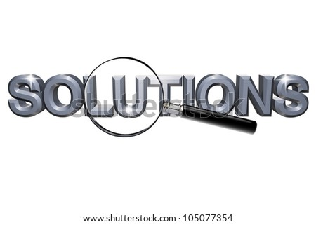 Finding Solution. Magnifying Glass with solutions word on a white background