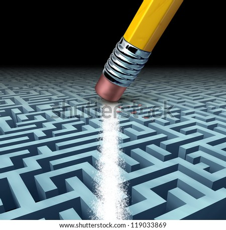Finding solutions and solving a problem searching the best creative answers against a complicated three dimensional maze with a clear shortcut path erasing the labyrinth with a pencil eraser.