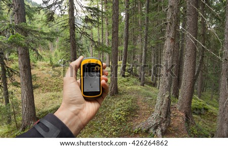 finding the right position in the forest via gps #426264862