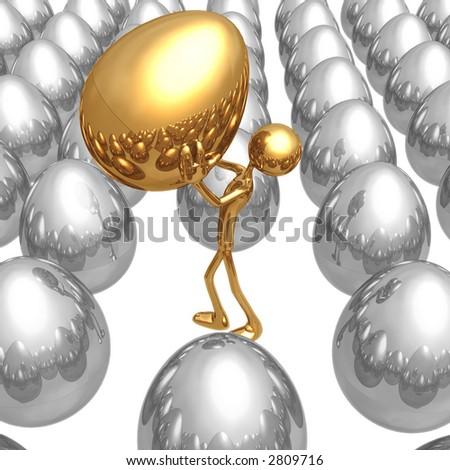 Finding The Unique Golden Nest Egg - stock photo