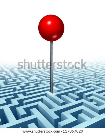 Finding your goal in life and in business with a concept of a red location direction pin in the middle of a three dimensional maze or labyrinth as a symbol of searching for success on white.