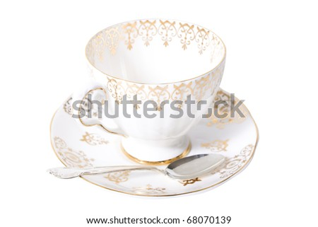 Fine antique china and silver spoon